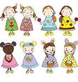 Girls in Easter vector image