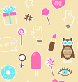 Sticker fashion seamless pattern vector image