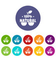 100 percent natural icons set color vector image vector image