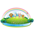 An island with animals fishing vector image vector image