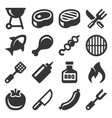 barbecue and grill icons set on white background vector image