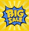 big sale banner yellow message blue star vector image vector image