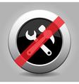 Black metallic ban button - claw hammer spanner