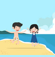 boy and girl couple with summer beach vector image vector image