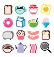 Breakfast food icons set - toast eggs vector image vector image