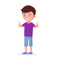 cartoon boy showing thumbs up vector image vector image