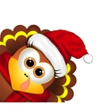 Cartoon turkey in a santa hat on white background vector image vector image
