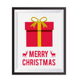 christmas card frame with giftbox vector image vector image