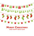christmas greeting card with christmas garlands vector image vector image