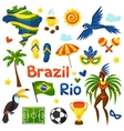 Collection of Brazil stylized objects and cultural vector image