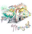 colorful houses in manarola ligury italy vector image vector image