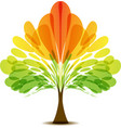 colorful logo abstract autumn tree art icon vector image