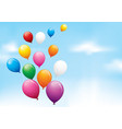 colourful balloons floating in a cloudy sky vector image vector image