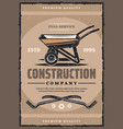 construction company vintage banner with work tool vector image