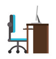 desk computer with chair office cartoon vector image vector image