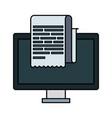 desktop computer with receipt vector image vector image