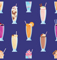 different tasty milkshakes decorated with fruits vector image vector image