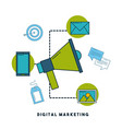 digital marketing cartoon vector image vector image