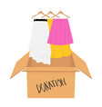 donation concept donate box full of clothes vector image