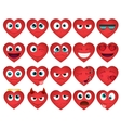 Emoticons or smiley hearts icons set vector image