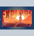 explore cartoon landing page woman enjoy travel vector image vector image