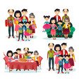 family portrait with parents and children on sofa vector image vector image