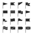 flag icons waving pennant black silhouette flags vector image