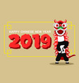 flat cute lion dancer give new year greetings vector image vector image