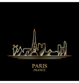 Gold silhouette of Paris on black background vector image