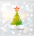 greeting card with christmas tree and big star vector image vector image