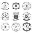 Handmade workshop logo vintage set Hipster and vector image