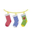 hanging christmas socks gift bags in flat vector image
