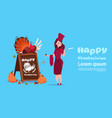 happy thanksgiving day female chef cook holding vector image vector image
