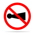 horn prohibited with shadow on white background vector image vector image