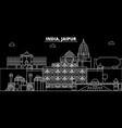 jaipur silhouette skyline india - jaipur vector image vector image