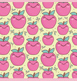kawaii cute apples pattern vector image vector image