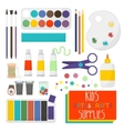 Kids Artistic materials set Art supplies vector image vector image