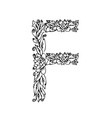 letters floral f vector image vector image