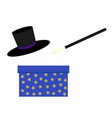 magician magic wand blue bow with stars and vector image