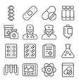 medical line icon set vector image vector image