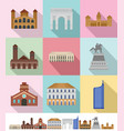 milan italy city skyline icons set flat style vector image