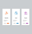 money flow invoice payment onboarding screens vector image