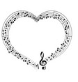 musical theme frame frame in the shape of heart vector image vector image