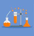 orange chemical flask concept background flat vector image vector image