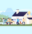 party concept friends having fun in lake house vector image