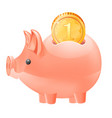 piggy bank and coin icon isolated vector image