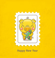 postage stamps pigs happy new year vector image
