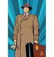 retro man in cloak with suitcase vector image vector image