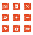 road travel icons set grunge style vector image