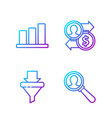 set line magnifying glass for search a people vector image vector image